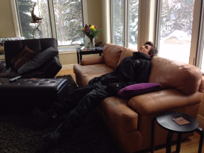 Max, exhausted after snowboarding in Tahoe this weekend.