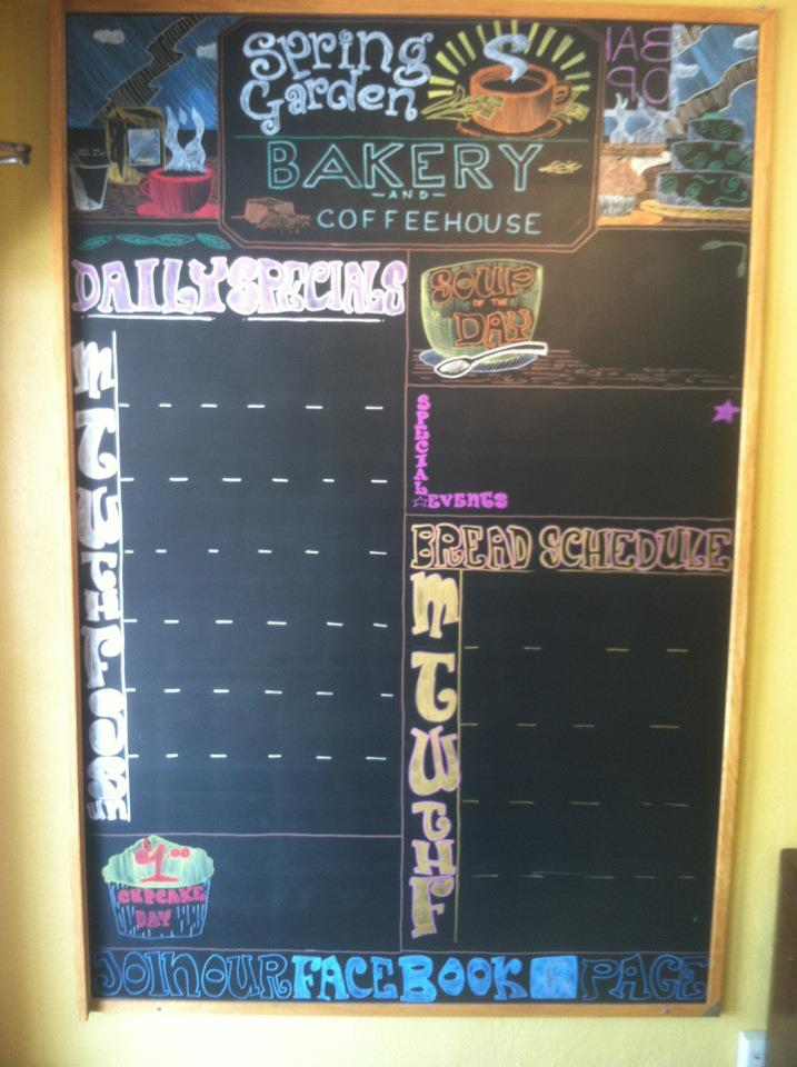 Specials Board-Spring Garden Bakery     1932 Spring Garden St, Greensboro, NC 27403      For Bill and Michelle Schneider