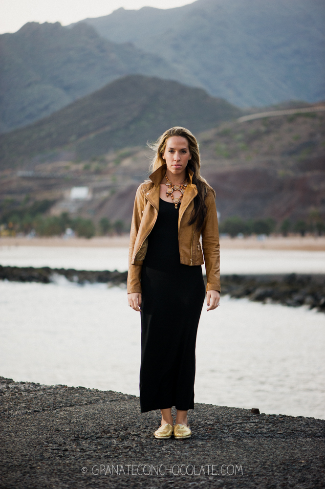 dorado zapatos vestido negro largo H&M