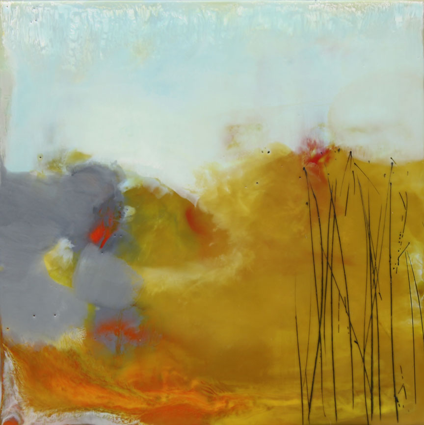 "Tuesday Morning  :: 18"" x 18"" :: encaustic"