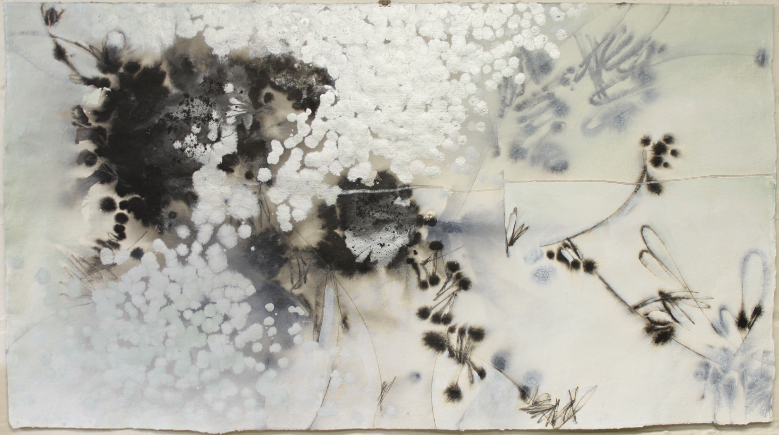 """Soft to Tell XXVII :: 22""""x40"""" :: ink, acrylic, and powdered graphite on handmade cotton rag watercolor paper :: 2018"""