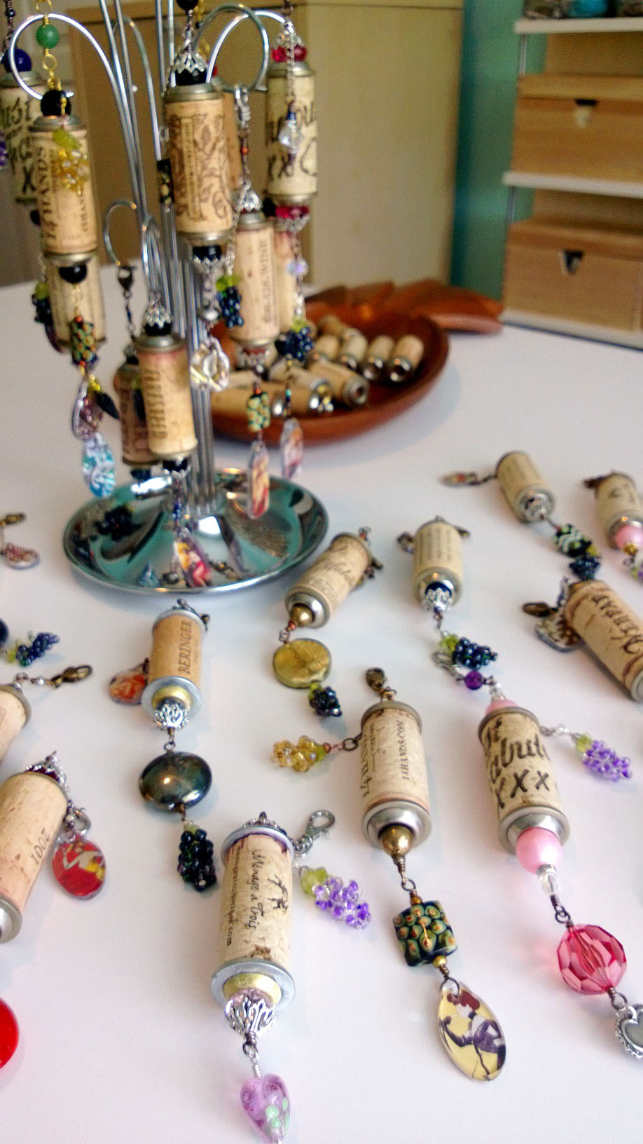 I used up most of the Tim Holtz charms and beaded grapes with this batch. Yay!