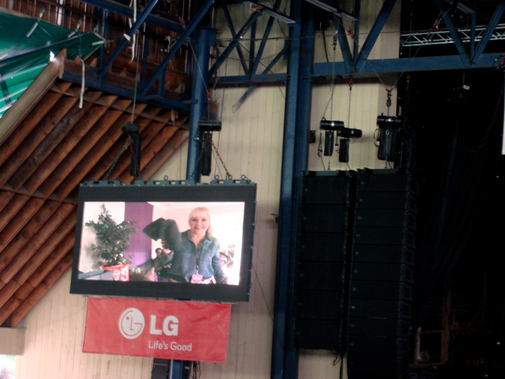 Jumbotron action... how convenient to find a pair of 7FAM jeans in Skrillex's trailer