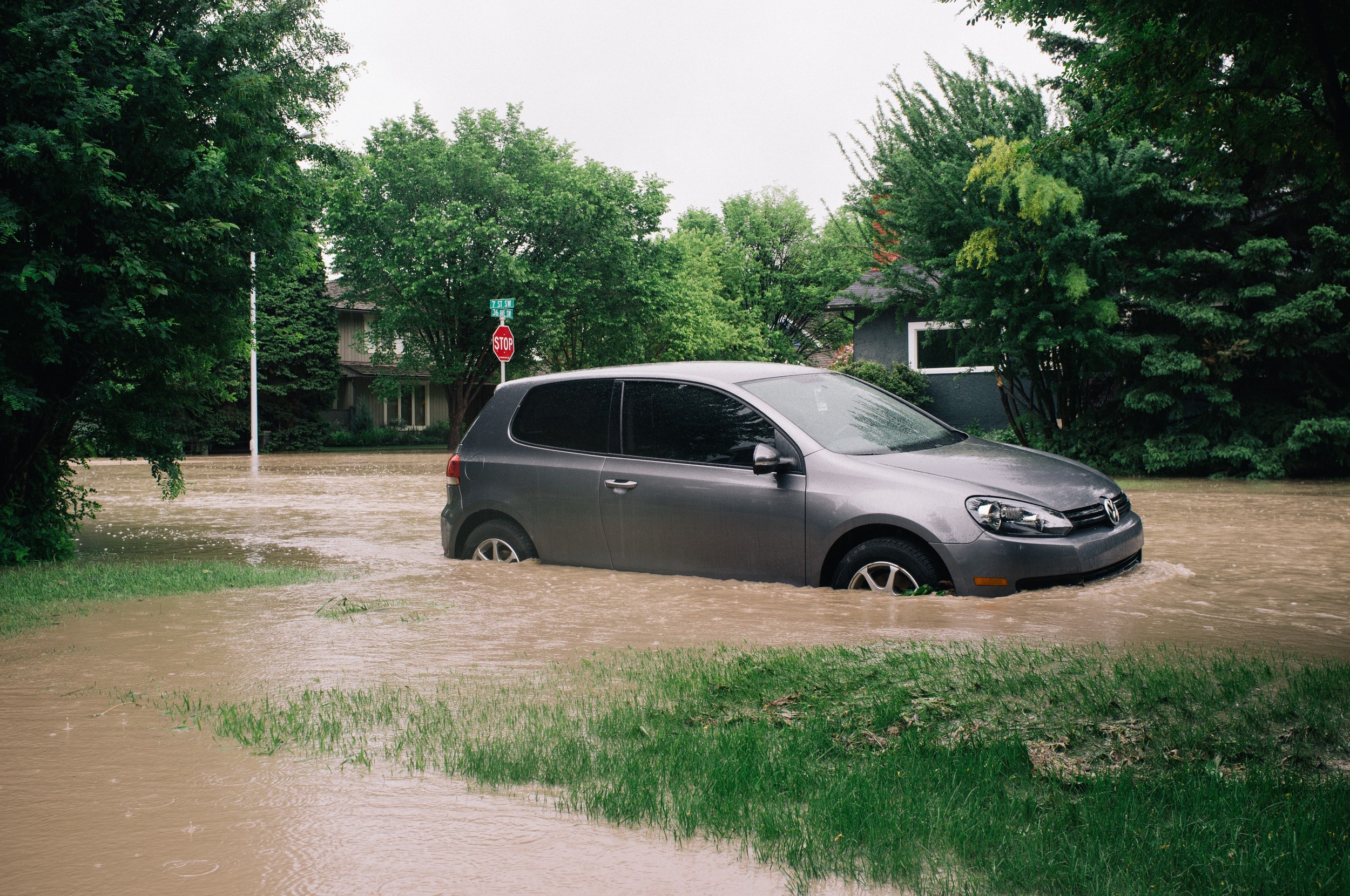 Swamped and abandoned VW Golf. 3700 block 7 Street SW.