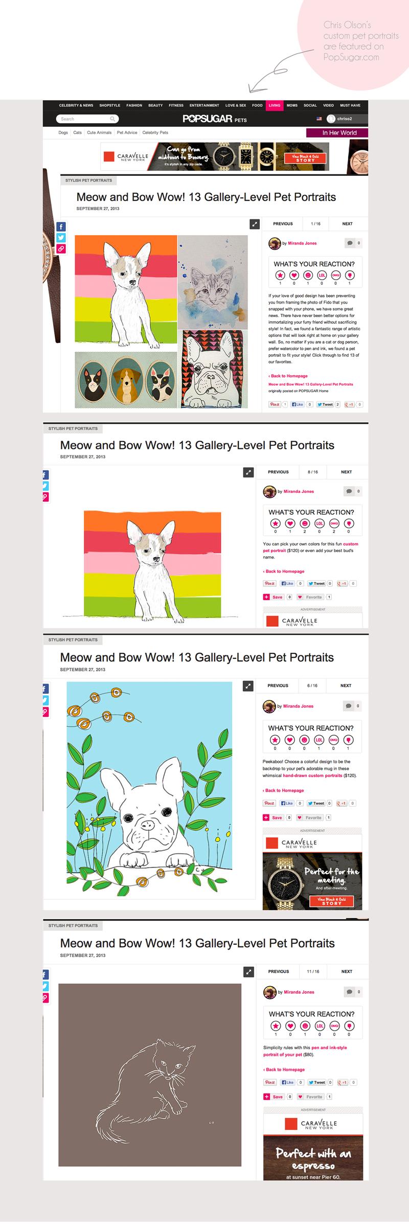 Chris Olson's custom pet portraits featured on PopSugar.com.
