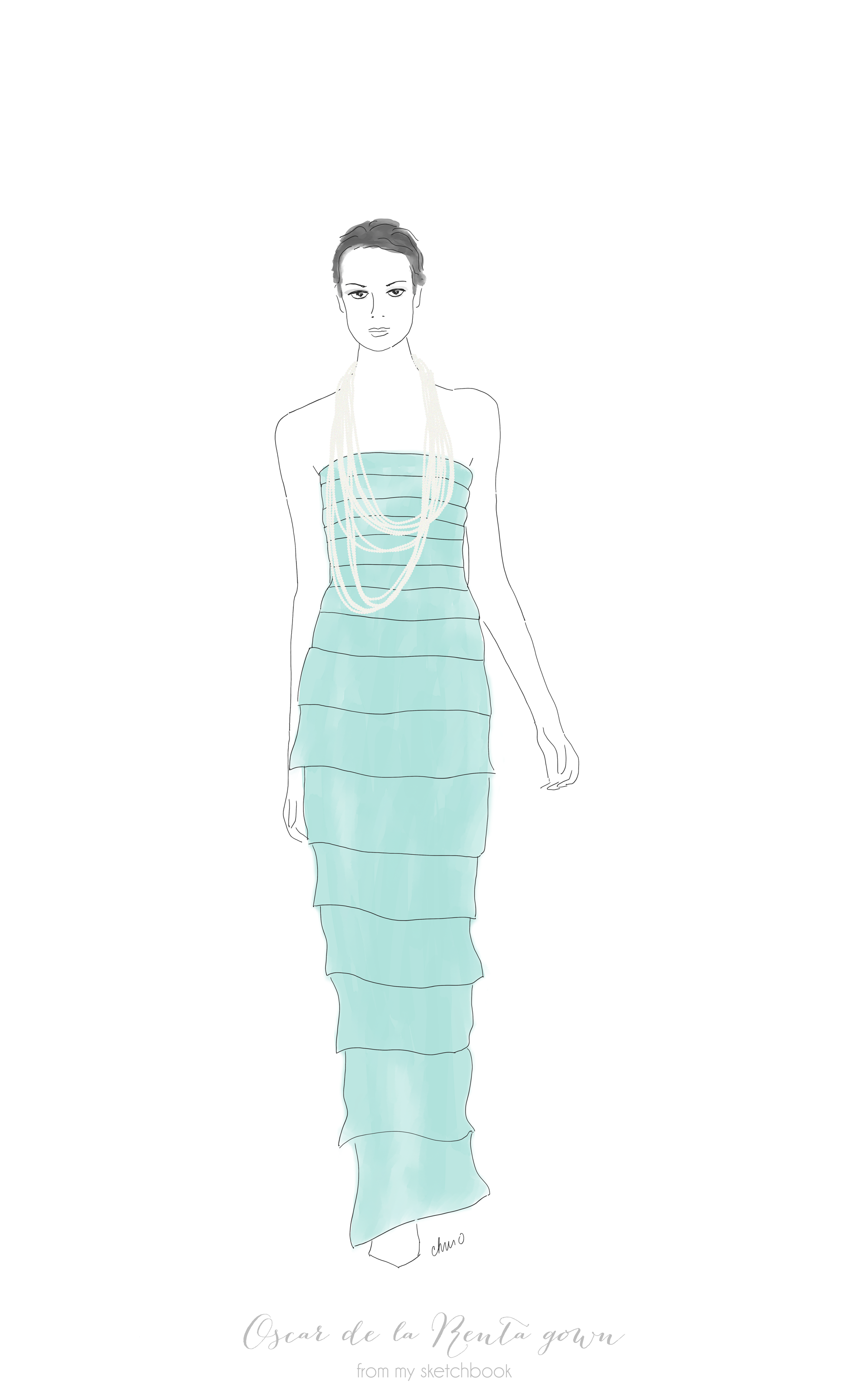 Oscar de la Renta silk georgette tiered gown with pearl trim from his Spring 2014 collection.