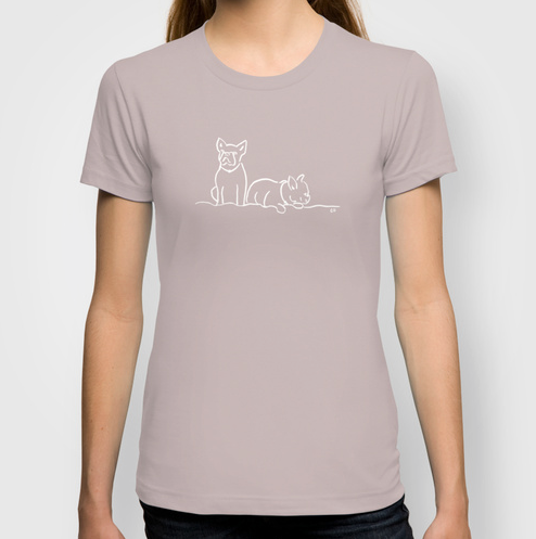 City Dogs {Frenchies} T-Shirt:  American Apparel Organic Fine Jersey featuring my illustration of two frenchies. Available in a variety of colors.