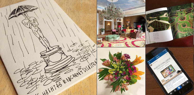 Chris Olson on Instagram -- A Red Carpet illustration on a card by my talented big brother Eric, the always lovely Broadmoor Hotel, a favorite coffee table book, the Pattern Observer Instagram Challenge, and the sweetest birthday bouquet from my pal Becky.