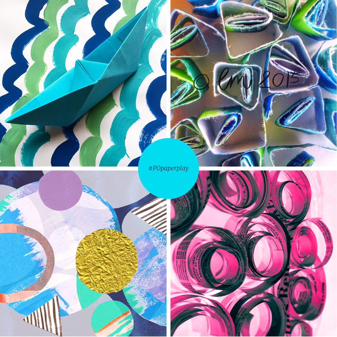 This #POpaperplay collage is featured in my post over at   Pattern Observer  . Clockwise from upper left: @neekienoo; @esther_emma; @chris_coco_olson; @elephantandrose