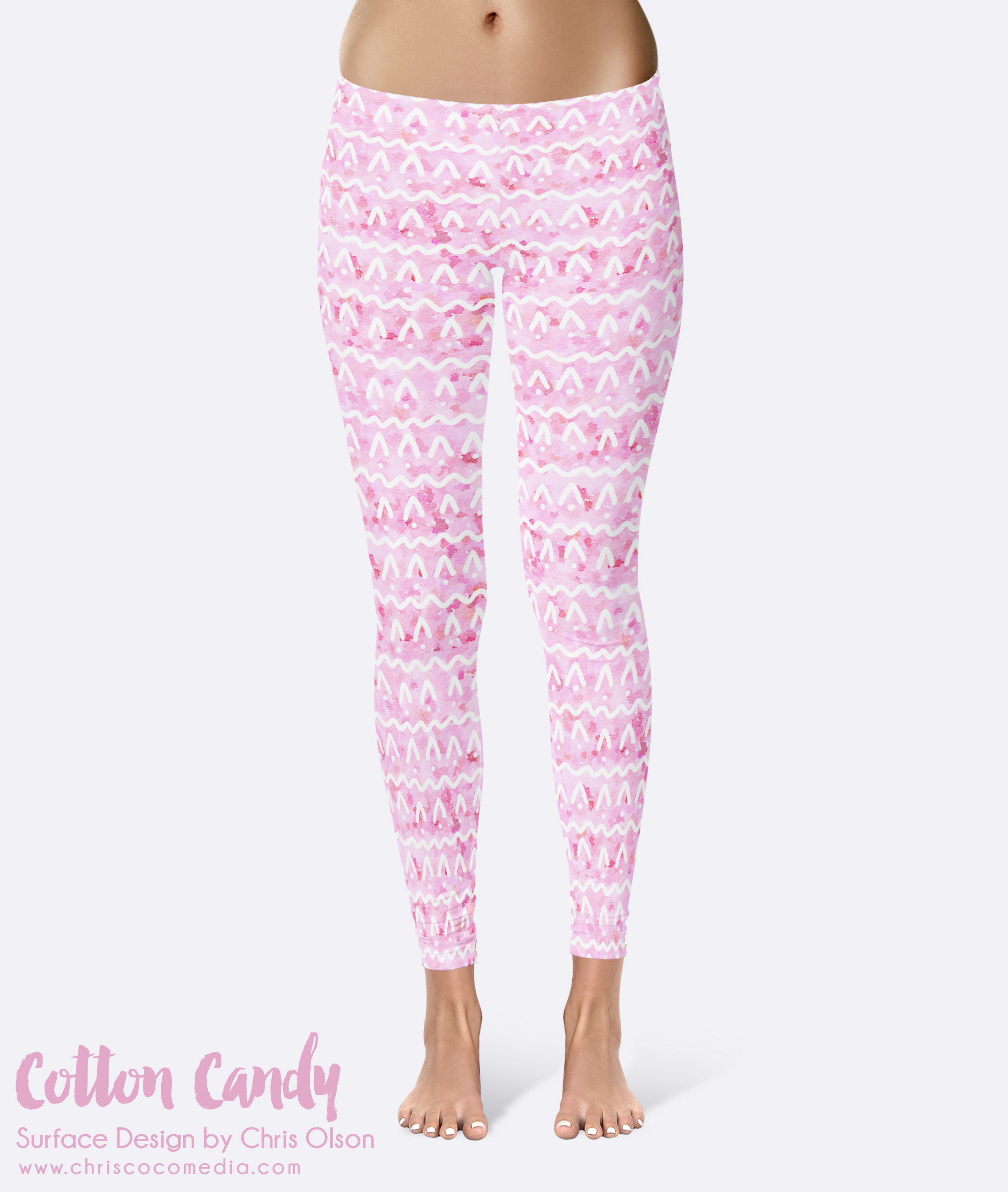 Cotton Candy textile pattern on leggings by designer Chris Olson // chriscocomedia.com