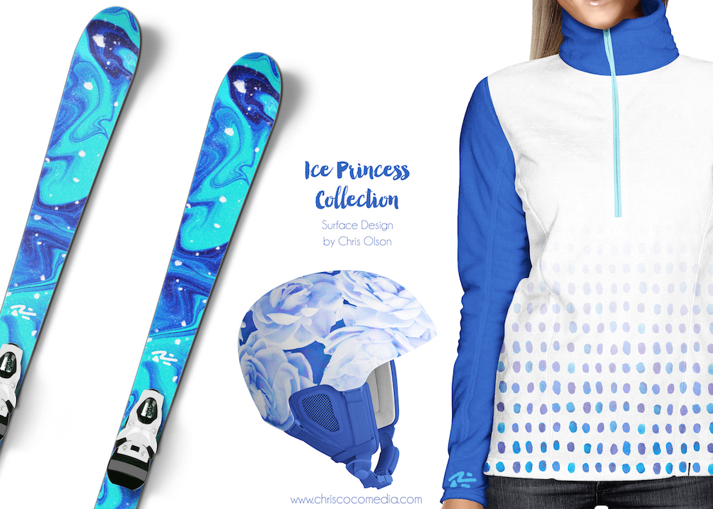 A few of the designs created by Chris Olson on ski apparel and equipment