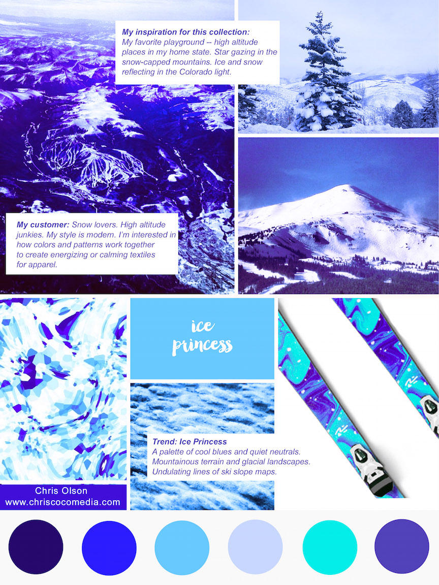 Mood board for the Ice Princess Collection created by Chris Olson