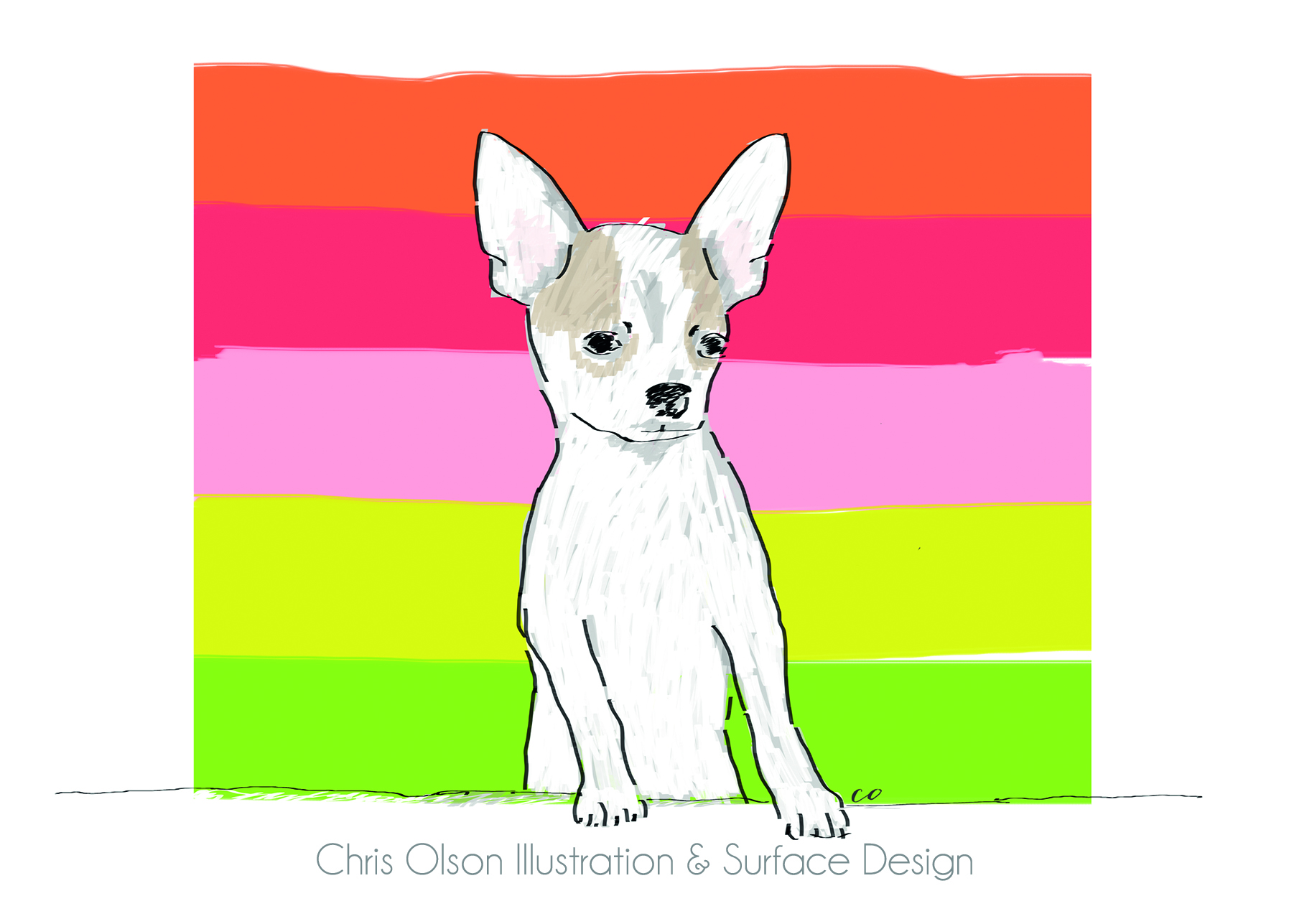 Sometimes capturing the spirit of a dog involves adding a lively background. Chihuahua art by Chris Olson.