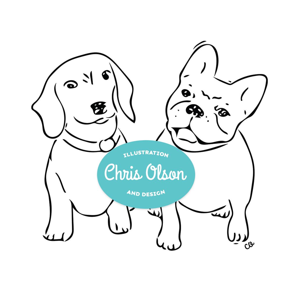 Dachshund and French Bulldog illustration by Chris Olson