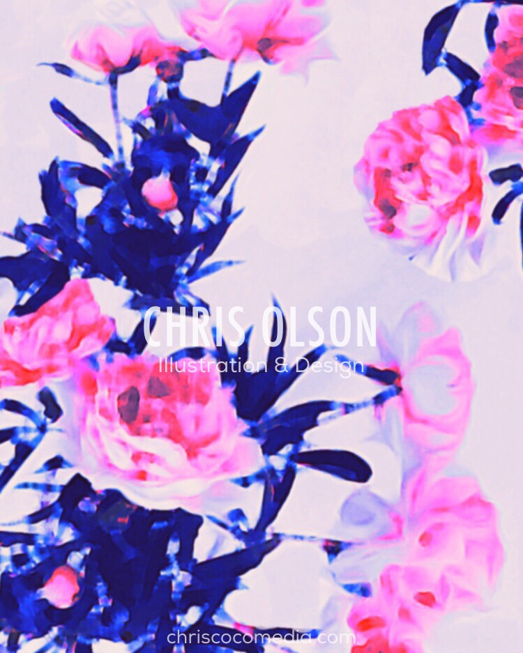 Dreamy Garden Floral by Chris Olson. Textile pattern featuring peony floral is available in seamless repeat.