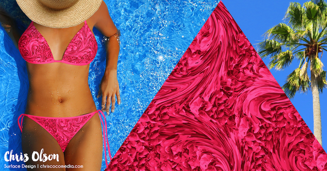 Paradise Wave Textile Design for swimwear by Chris Olson.