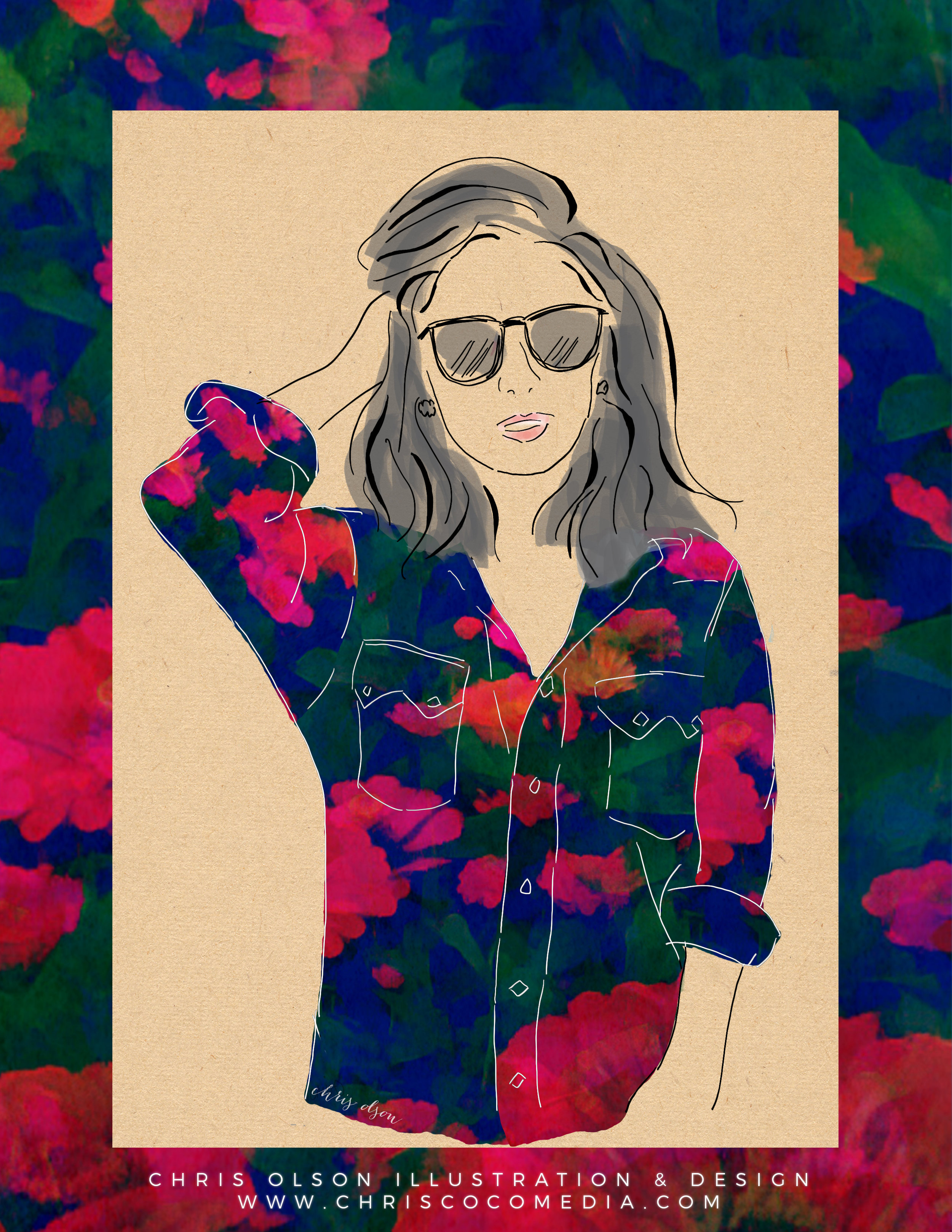 Winter floral textile and fashion illustration by designer Chris Olson.