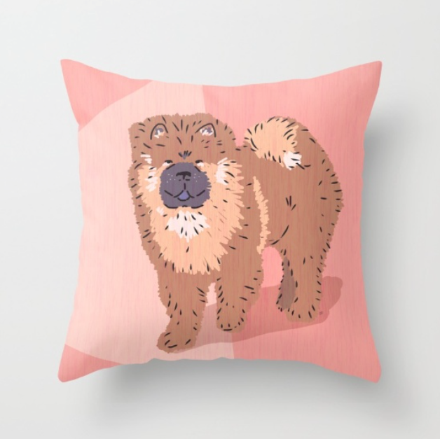 Perfect pillow for dog lovers--Chow Chow City Dog by Chris Olson
