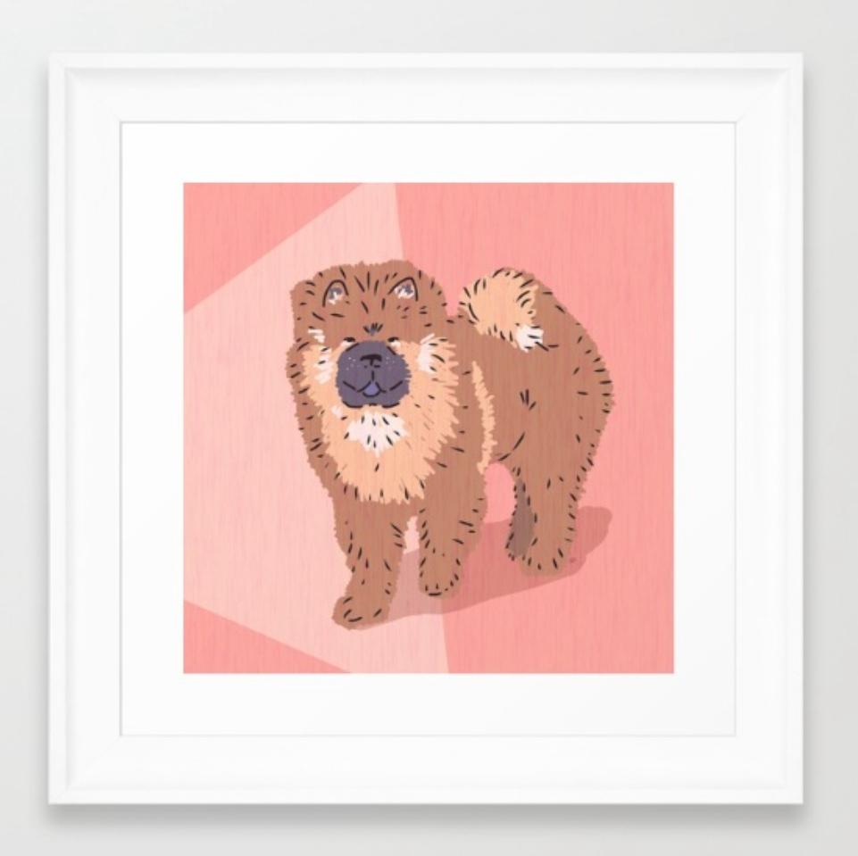 Chow Chow dog art in a framed print by Chris Olson