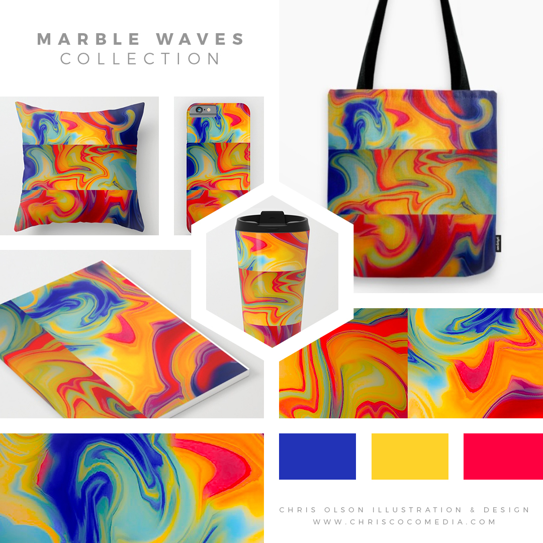 You can find my Marble Waves pattern on a variety of products at my shop including pillows, travel coffee mugs, tote bags, notebook journals, carry-all pouches, clothing,and iPhone and laptop cases.