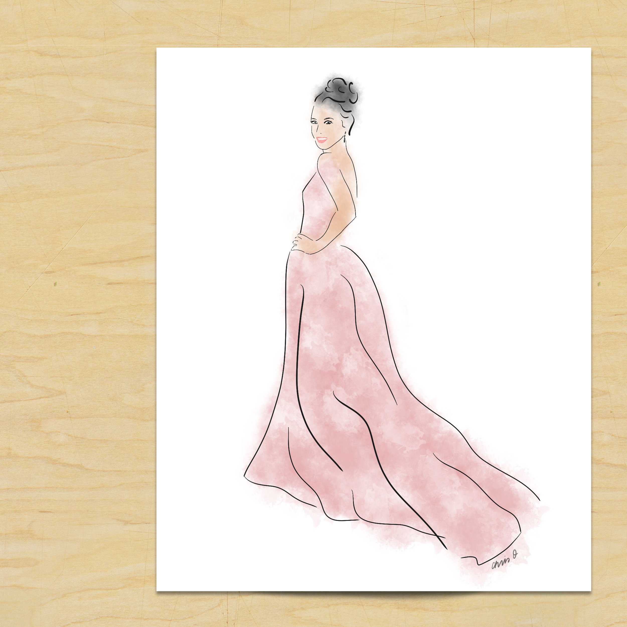 Lily Collins fashion sketch at Golden Globes by Chris Olson