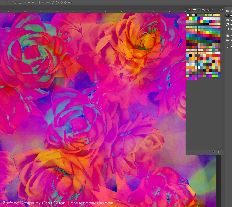 Studio scene: Iridescent botanical work in progress by designer Chris olson.