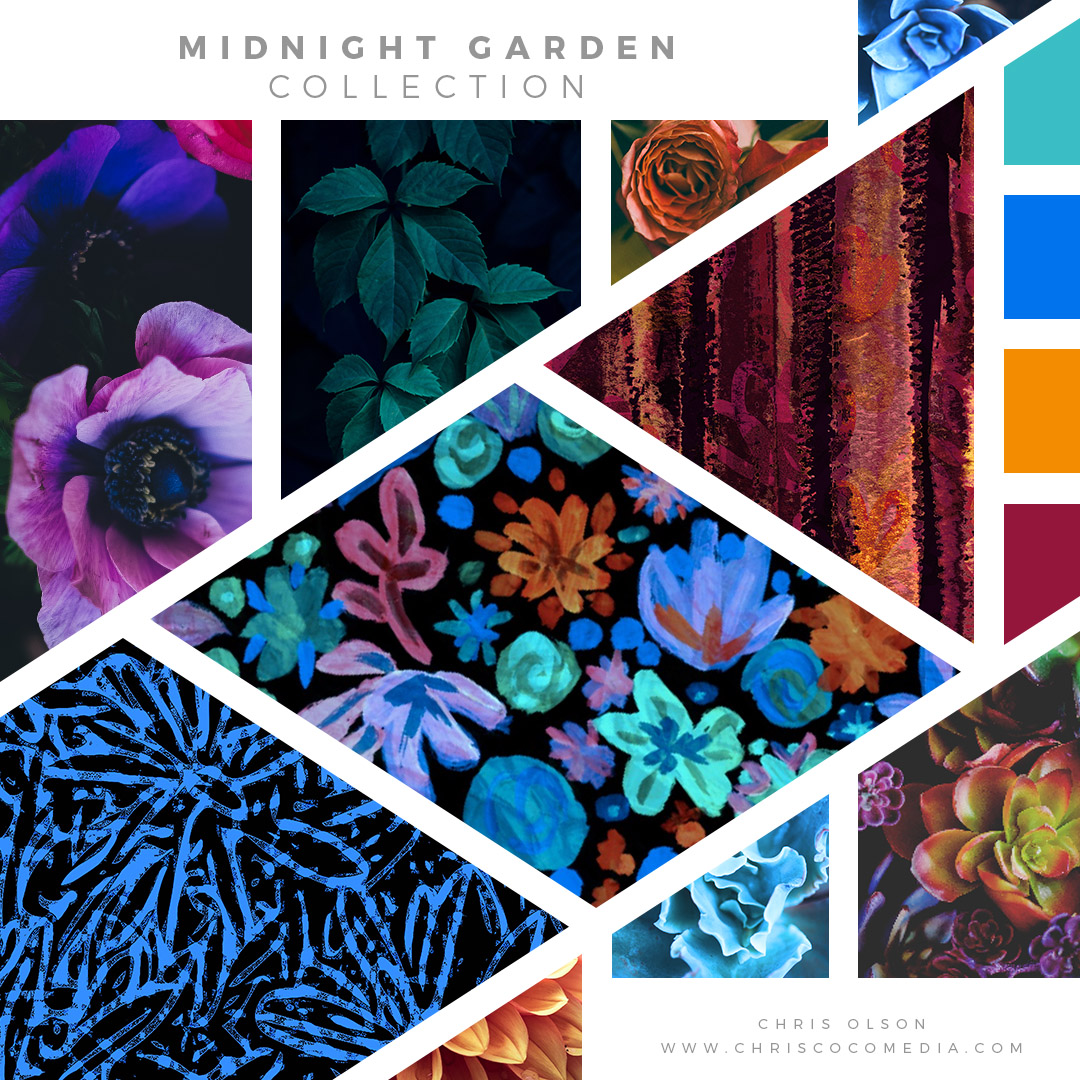 Midnight Garden Textile Collection by Chris Olson