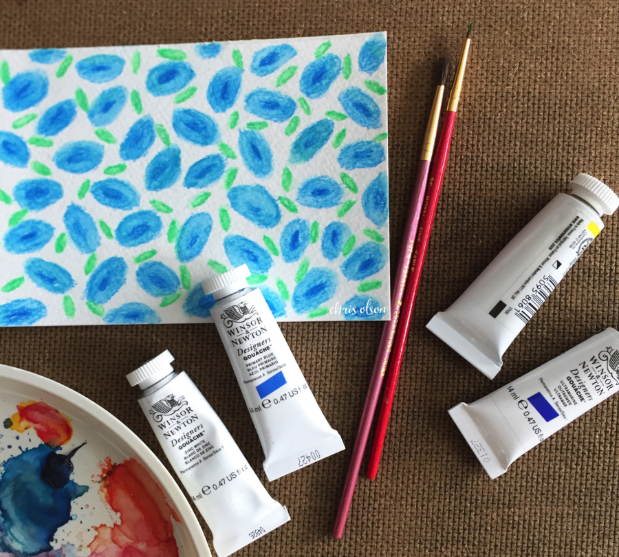 Patterns begin in many forms. This tiny floral painting is the beginning of a new pattern.