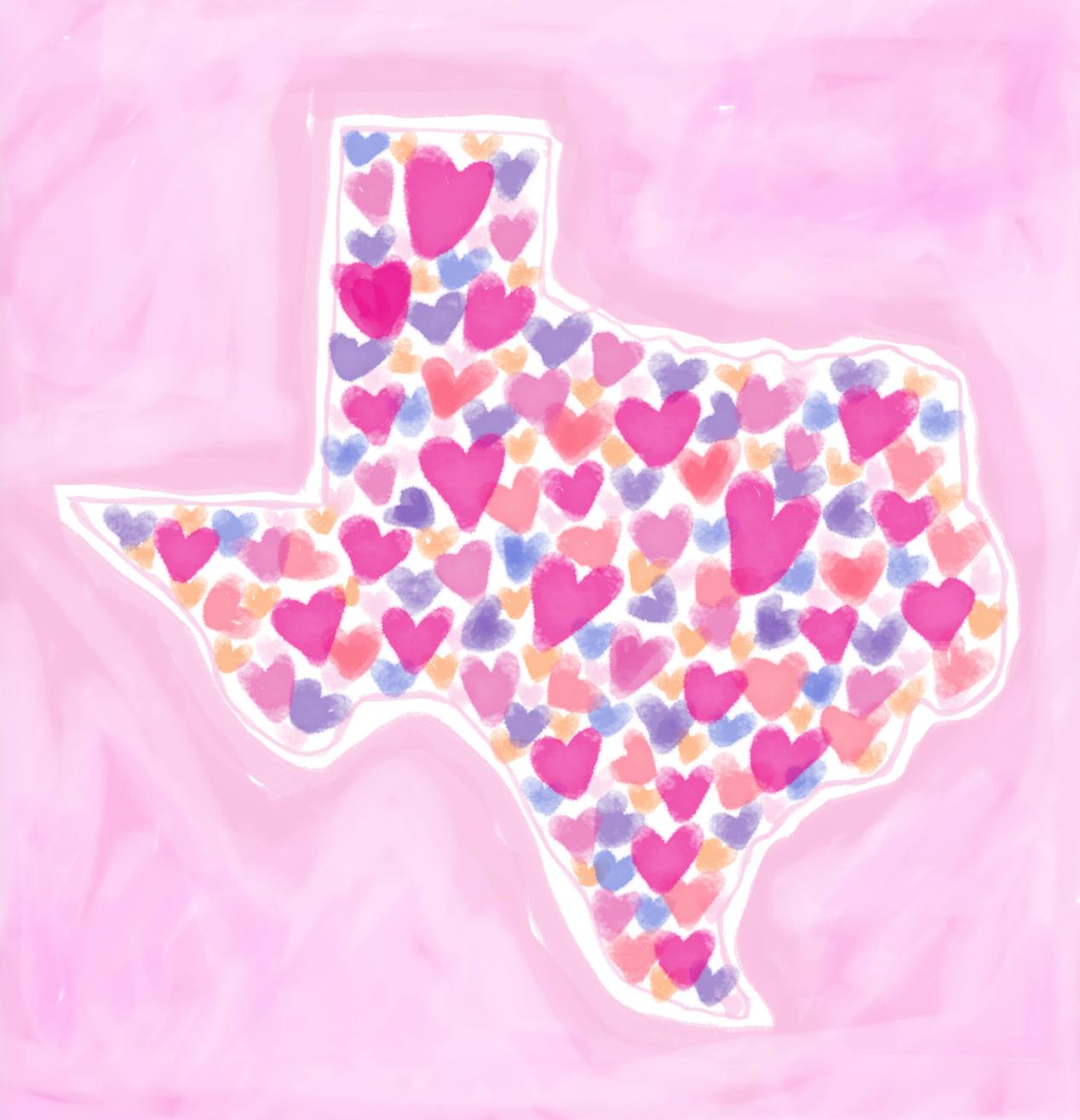 Texas State Heart Art by Chris Olson