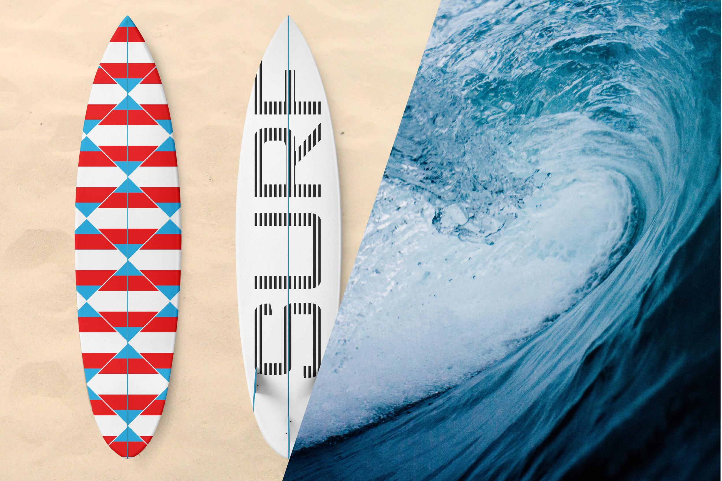 Zen Geo designs by Chris Olson. Surfboard art. Wave photo by  Tim Marshall on  Unsplash