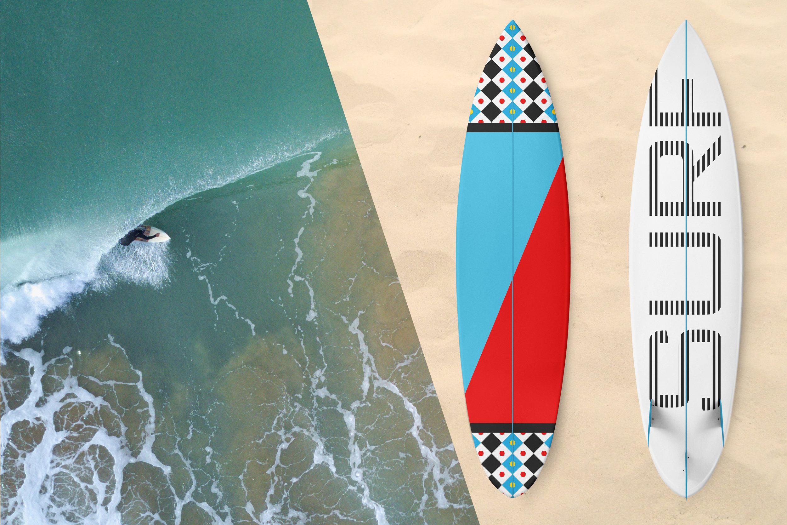 Zen Geo designs by Chris Olson. Surfboard art. Wave photo by  Kensuke Saito on  Unsplash