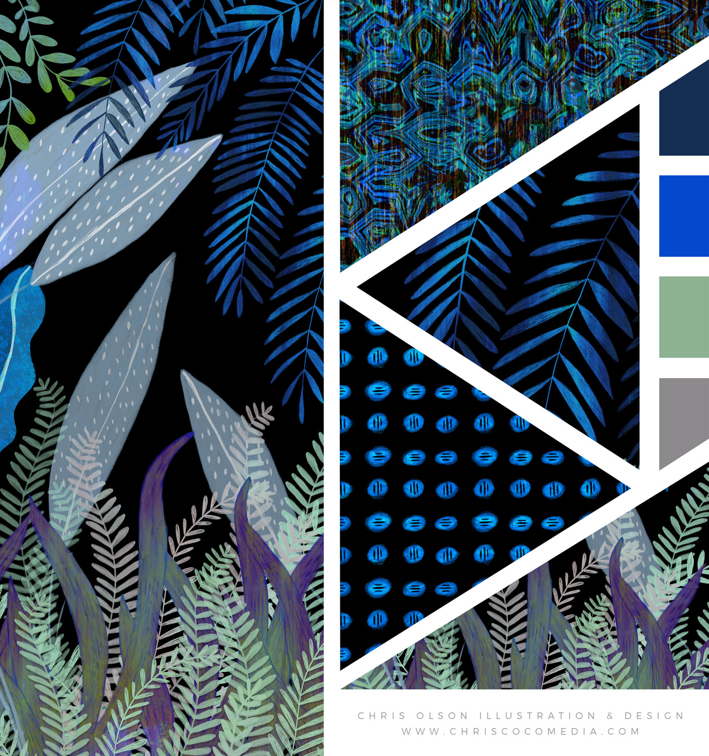 Tropical Botanical Print Collection by Chris Olson. This collection is featured on Pattern Observer.