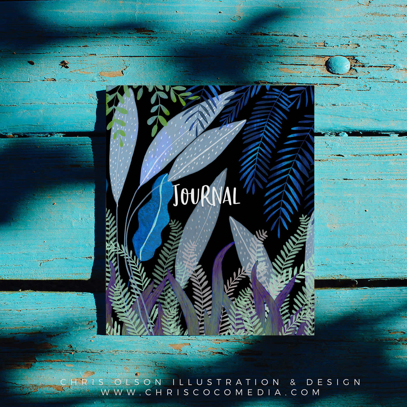 Tropical botanical illustration by Chris Olson on a journal.