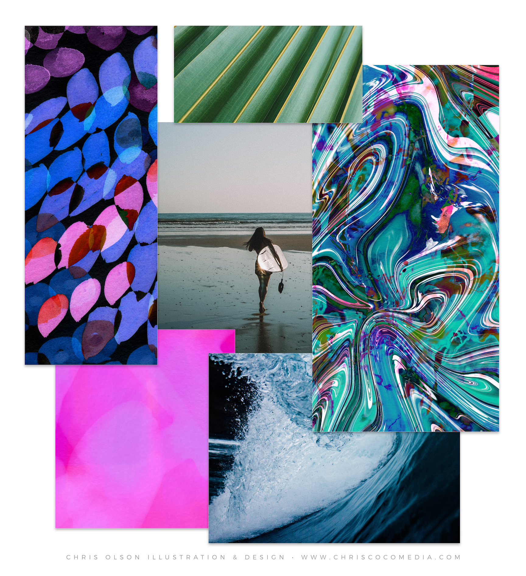 Escape to the water in this new mood board by Chris Olson with tropical-inspired color palette featuring psychedelic prints and a painterly vibe