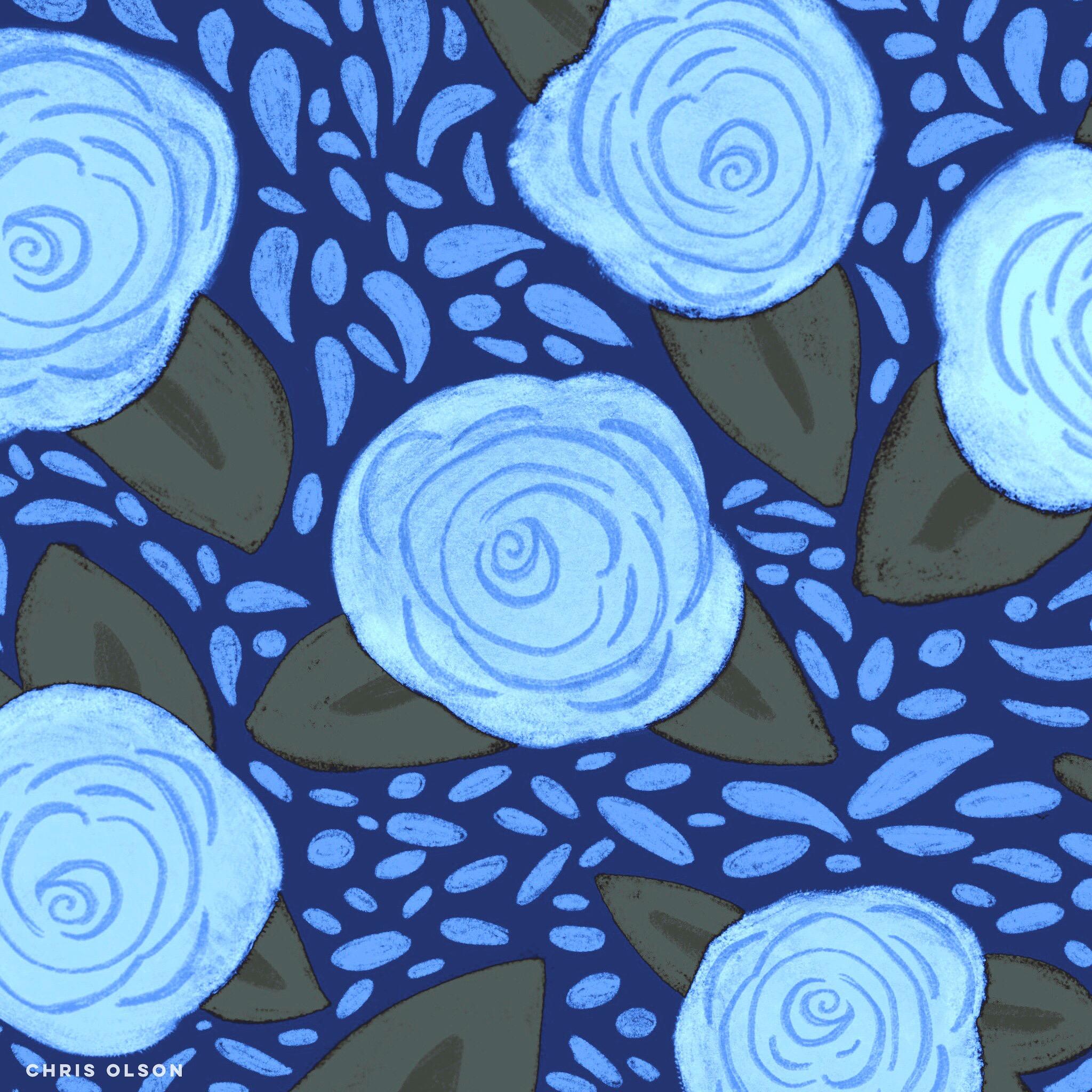 Blue botanical by Chris Olson