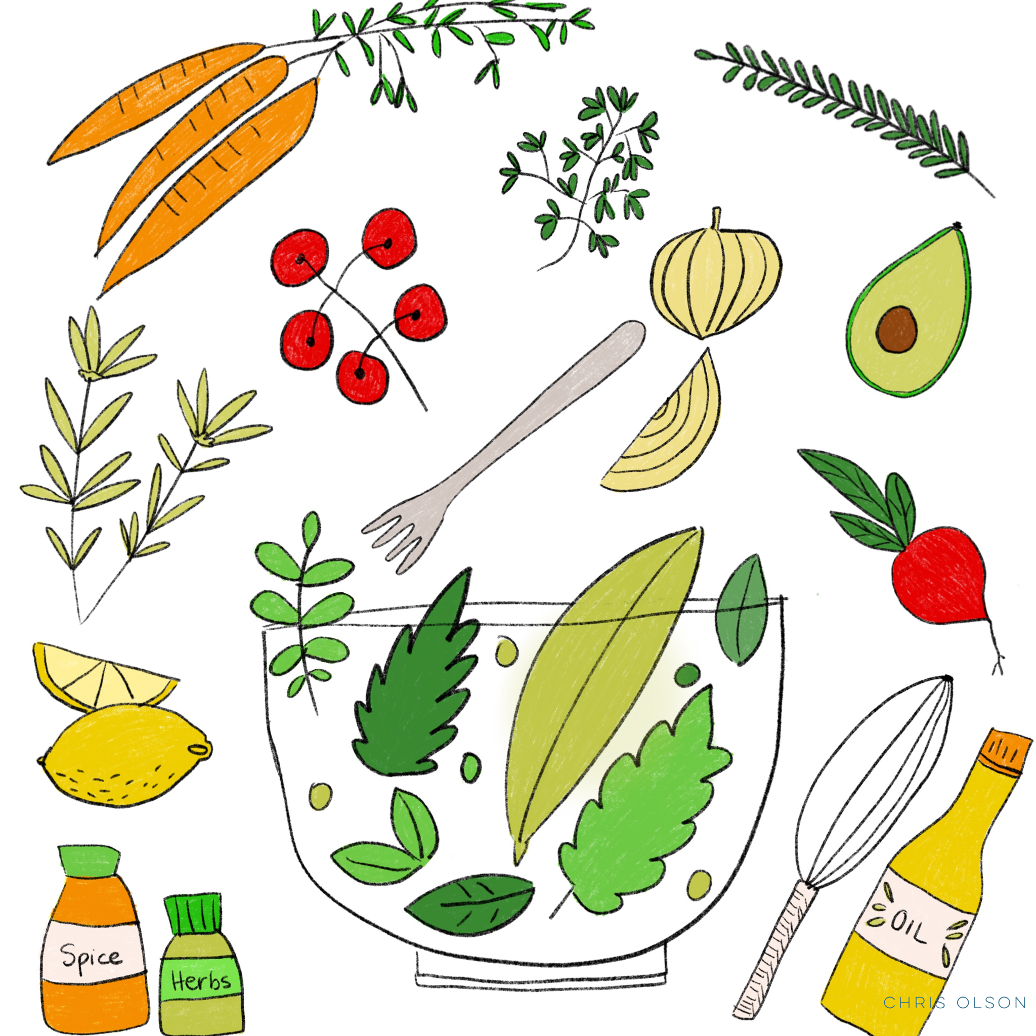 Salad art by Chris Olson