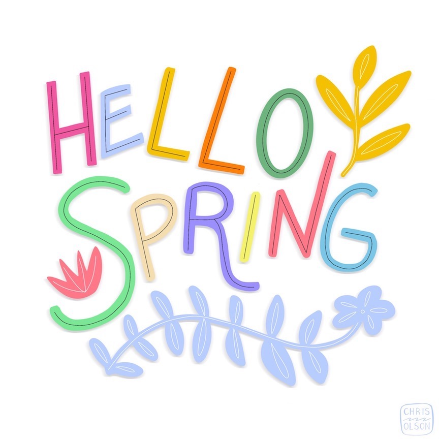 Hello Spring art by Chris Olson