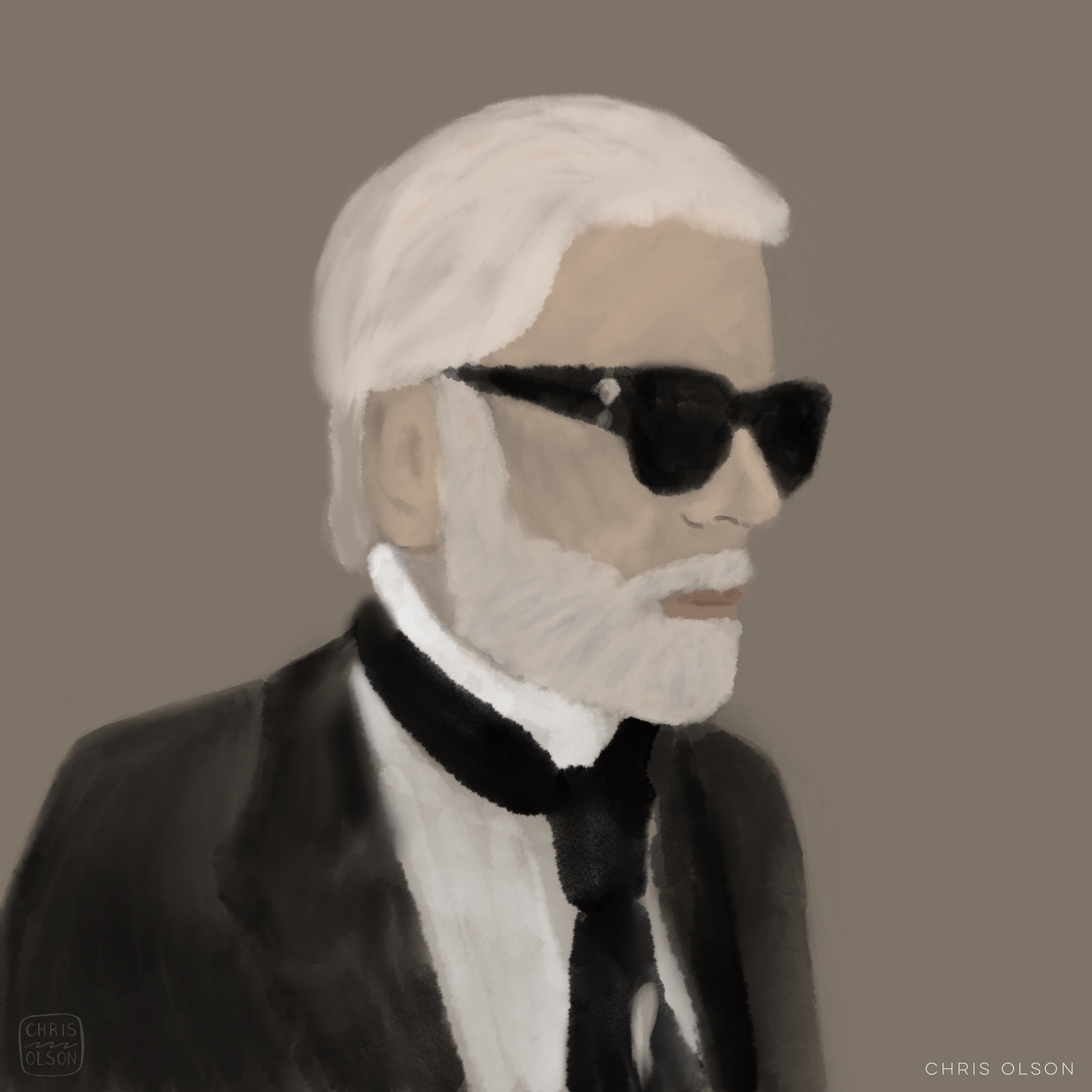 Karl Lagerfeld illustration by Chris Olson.