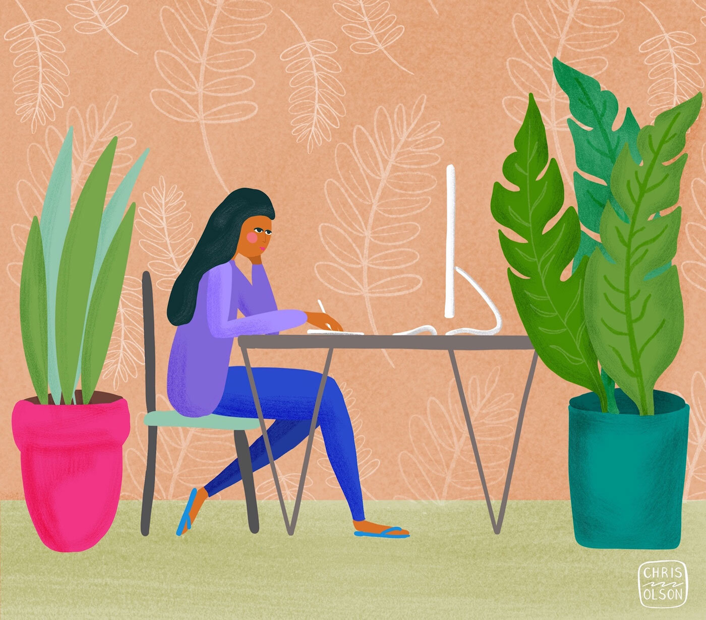 Creating a healthy and happy work environment includes a few plants. Art by Chris Olson