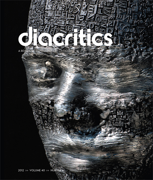 "The cover of diacritics featuring ""Redacted""."