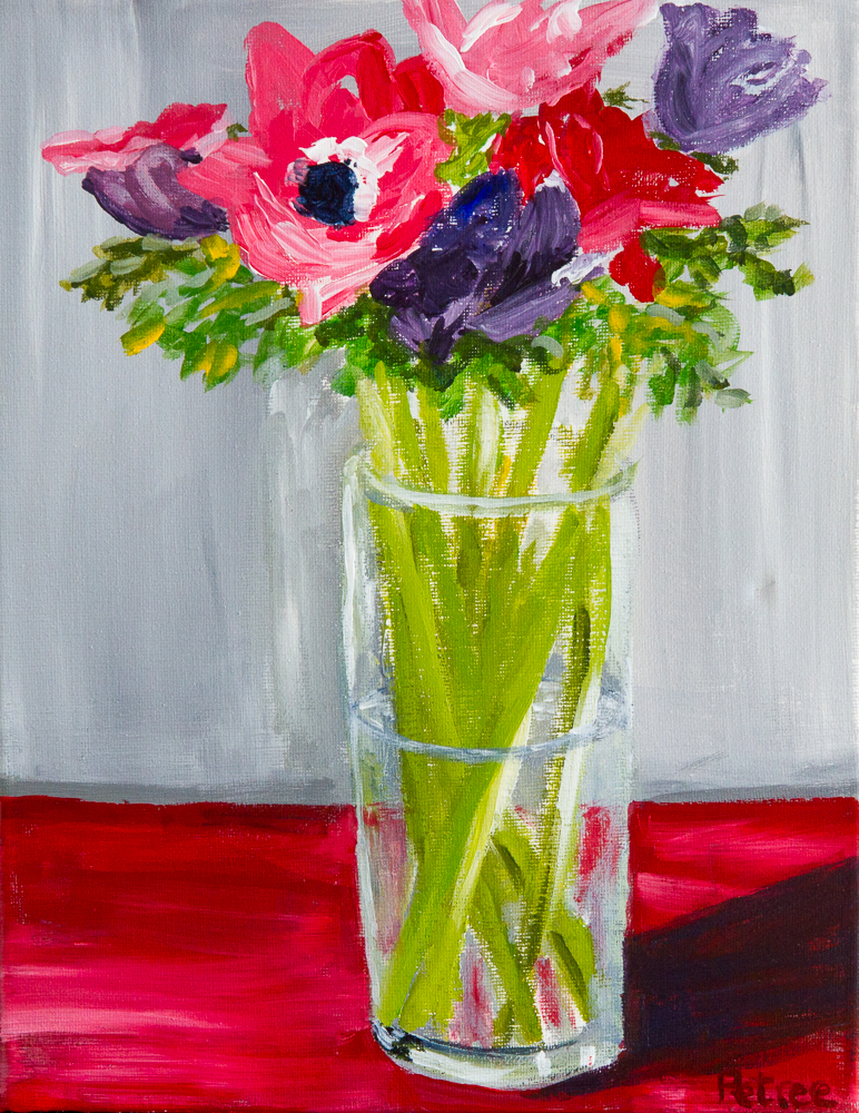 Anemones, Acrylic on Canvas, 16X20, SOLD