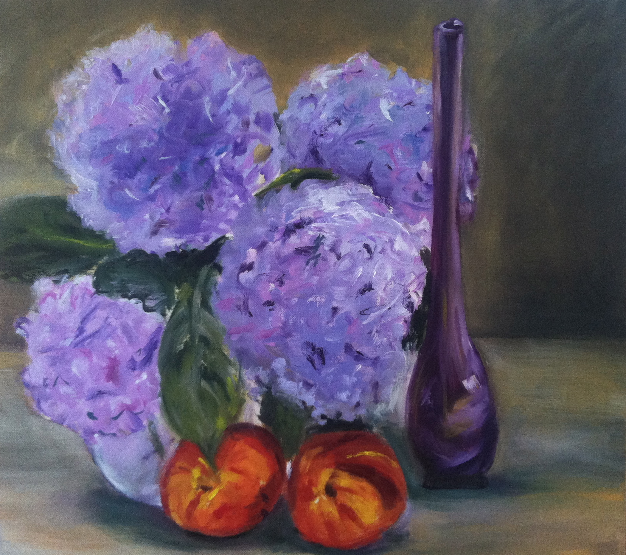 Hydrangeas, Oil on Canvas, 20 X 20, SOLD