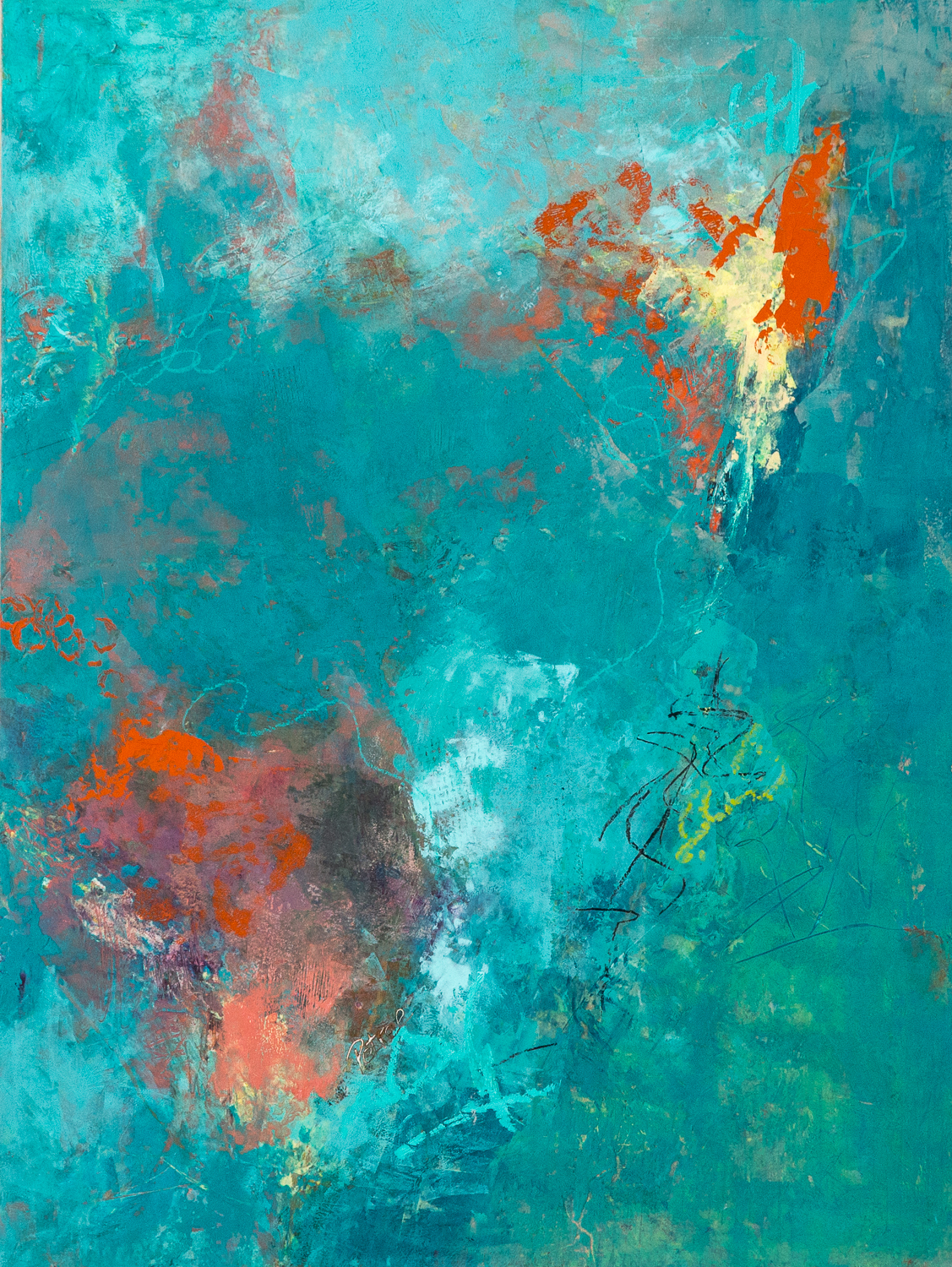 Love That Turquoise II.  Oil and Cold Wax on Wood Panel.  18 x 24