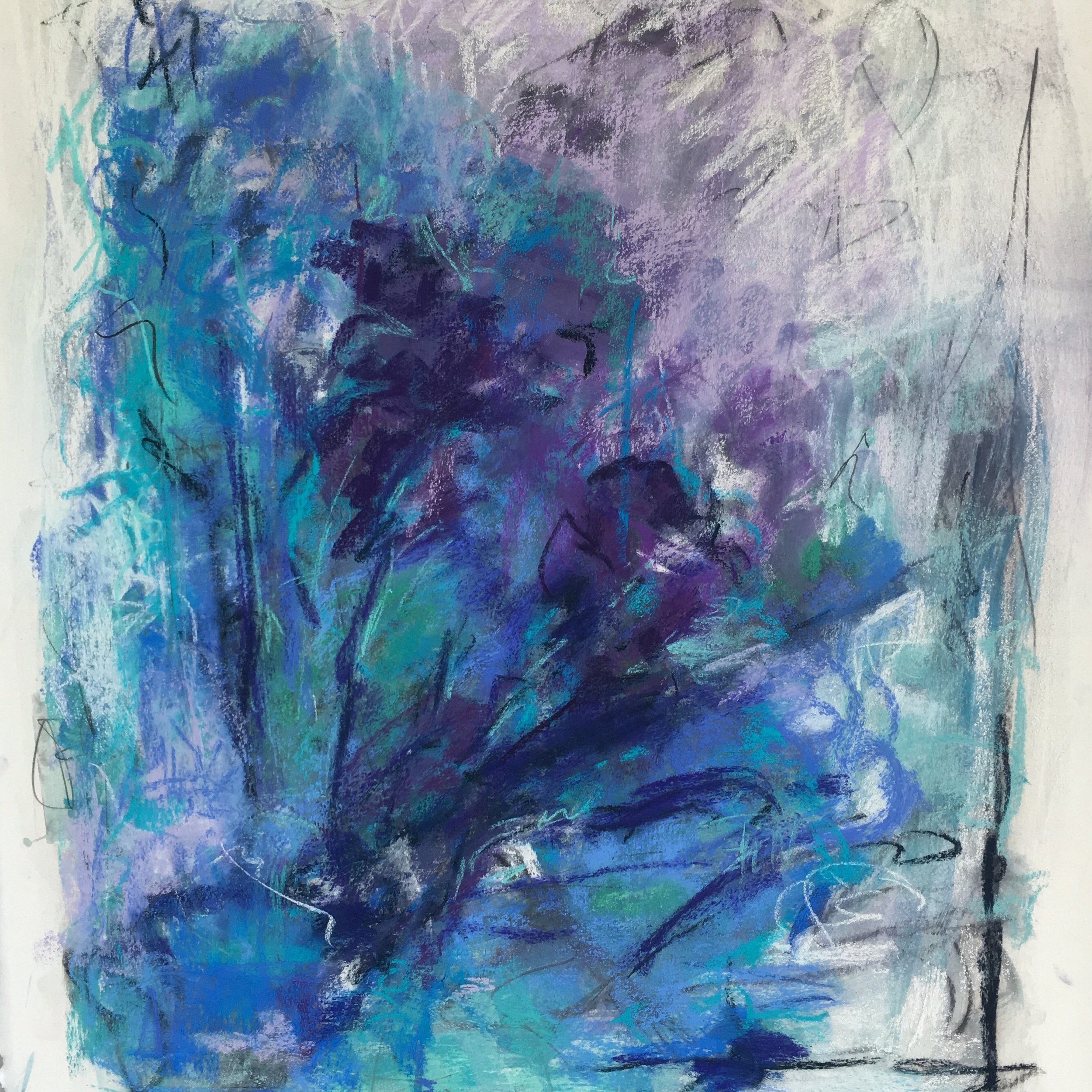 Hints of Lilac.  Acrylic Ink and Pastels on Paper.  22 x 30