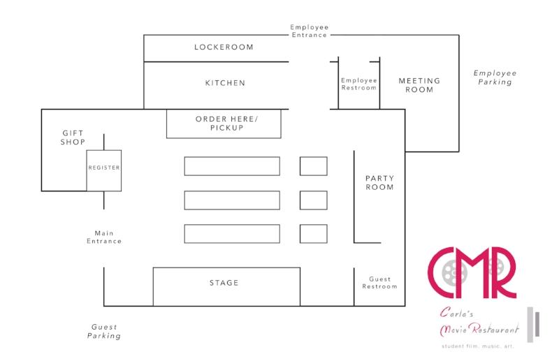 Dream floor plans for Carla's Movie Restaurant