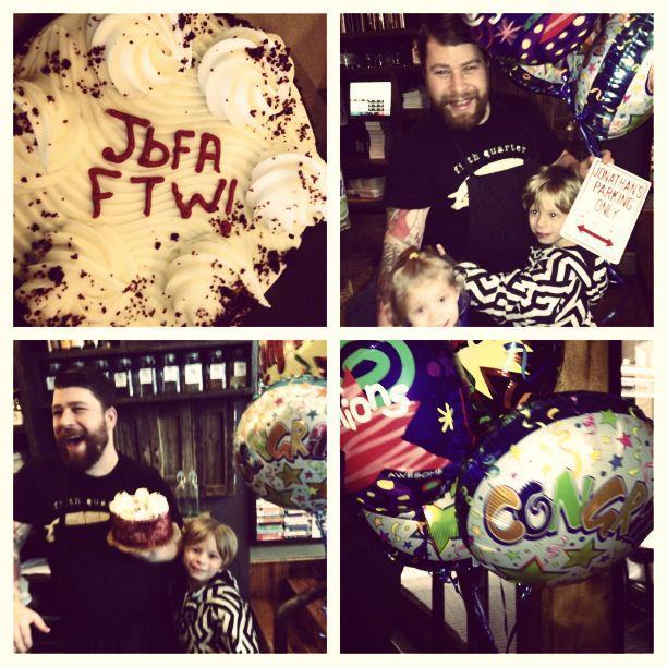 Surprising dad with some congratulatory love!!