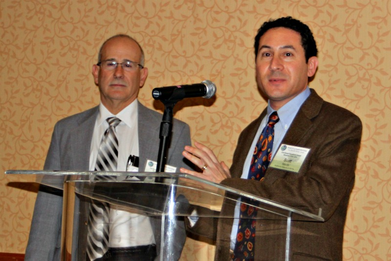 Dr. Jose Quero (left), the 2014 Rural Physician of the Year, with his colleague Scott Needle from the Healthcare Network of Southwest Florida Thursday, November 20 in Orlando, Fla. during the FRHA 21st Annual Educational Summit.