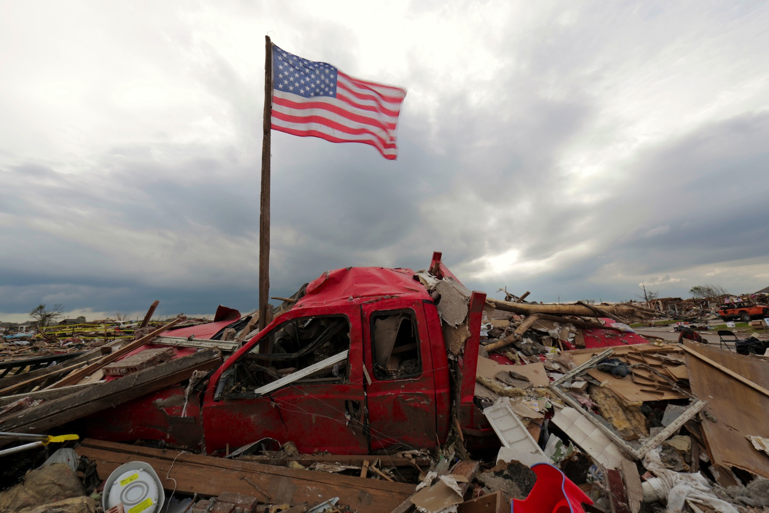 Amidst the debris in the Westmoore neighborhood in Oklahoma City.