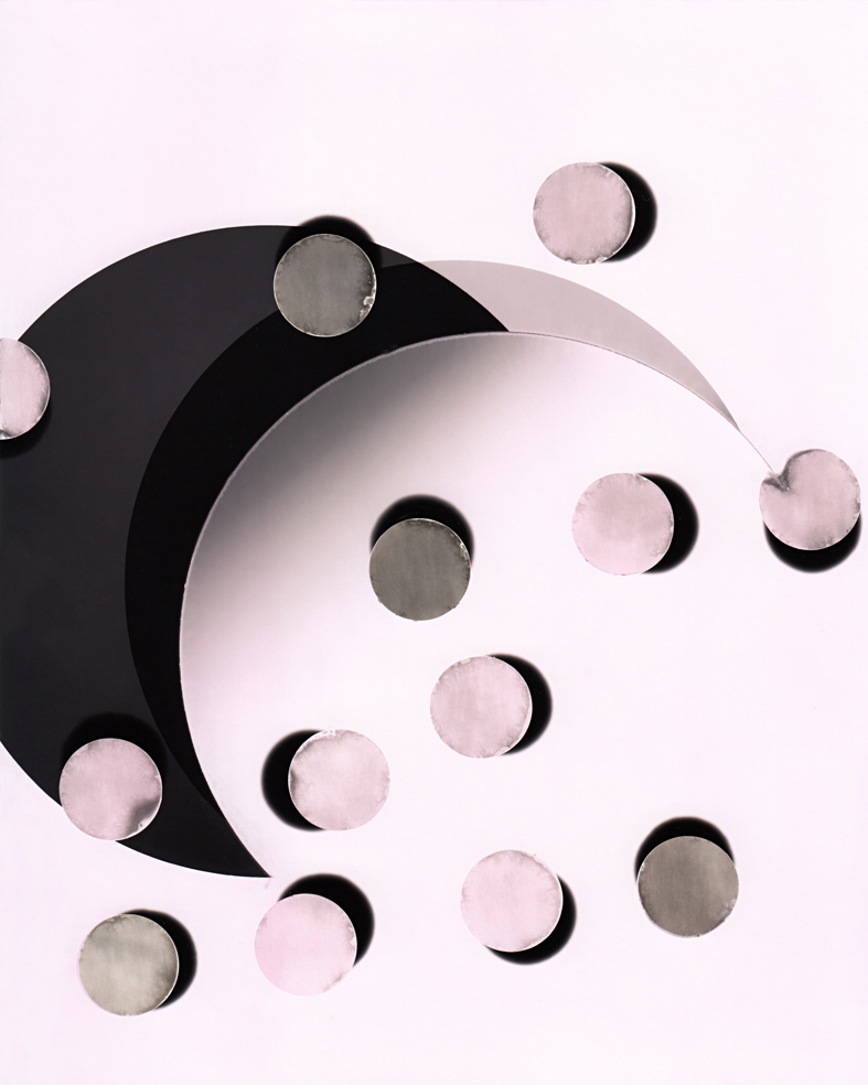 Circle work 16, 2013  cut solarised silver gelatin print (photogram) with toner   25.4 x 20.3 cm