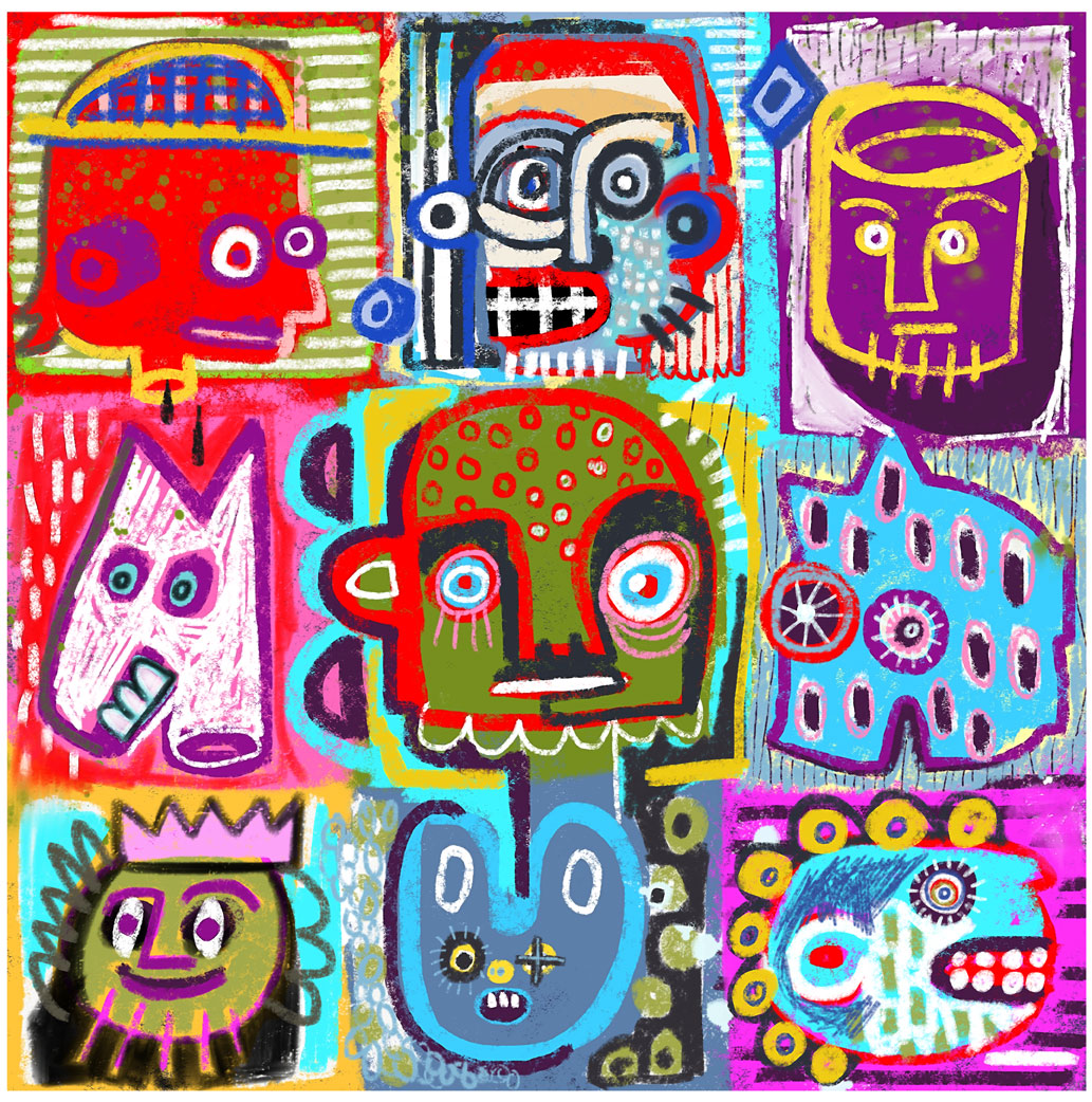 Cubed Heads - Painting Series